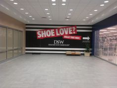 Shoe Love Project - Local retailer at a mall needed a nice looking barricade wall and they turned to Worldwide Graphics & Sign Co for the production and installation. #WorldwideGraphics
