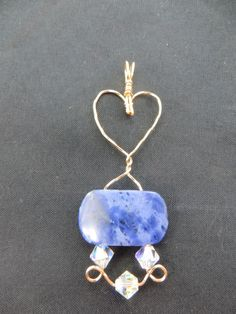Blue Soda Lite gemstone pendant, gold filled wire wrapped, heart by LindysLane on Etsy