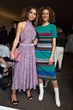 Cleo Wade and Elaine Welteroth share a moment at the 2018 DVF Awards.