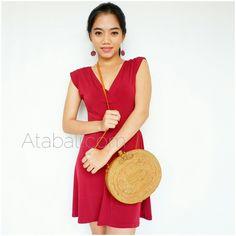 oval bags sling handmade rattan bali design ribbon clip