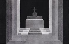 Meutre dans la cathédrale de T. S. Eliot - décor de Léon GISCHIA, Théâtre du Vieux Colombier, 1945