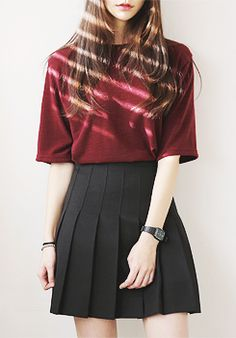 Pleated skirt with burgundy top. Check out fashion app www.fadstir.com for similar styles #asianfashion #koreanfashion