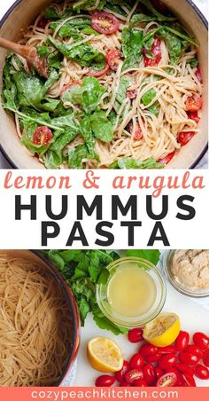 This hummus pasta with lemon and arugula is so creamy, flavorful and easy to make using pantry ingredients. This quick vegan recipe is healthy and easily customized. Quick Vegan Meals, Easy Vegetarian Lunch, Vegan Dinners, Healthy Cooking, Healthy Snacks, Vegetarian Recipes, Healthy Recipes, Detox Recipes, Advocare Recipes
