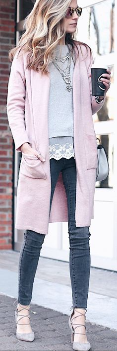 Pink Coat / Dark Skinny Jeans / Grey Laced Up Pumps / Necklace