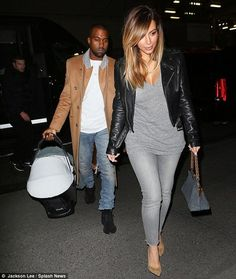 Casual night out: The famous couple both dressed down in jeans but Kim Kardashian was sure to wear her heels alongside Kanye West Jean Outfits, Cool Outfits, Casual Outfits, Fashion Outfits, Fashion Trends, Kim Kardashian, Kardashian Workout, Kardashian Fashion, Kardashian Family