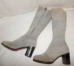 Vintage 70's Grey Soft Leather Suede Wood Heel Knee High Hippie Boots 8.5 #Boots