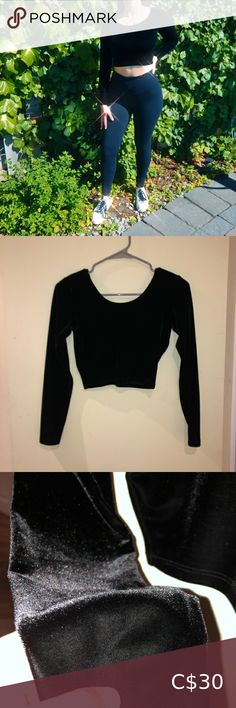 Velvet American Apparel Long Sleeve Crop Top This top is super sexy but also not too revealing! Since it is velvet it is soft and comfortable! It can be worn with simple jeans or leggings or can be dressed up with a skirt and heels as well! Says size M but really fits S! 💎 All purchases are washed before shipping and come from a quarantined home :) 💎 American apparel - sleek - shiny - subtle - chic - hot - sexy - trendy - cute - American Apparel Tops Crop Tops Tight Crop Top, Boxy Crop Top, Long Sleeve Crop Top, Crop Tops, High Waisted Dress Pants, American Apparel Tops, Bralette Crop Top, Zip Up Sweater, Velvet