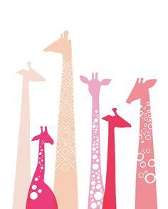 giraffes giclée print on fine art paper. 8X10. pink, fuchsia, lavender.