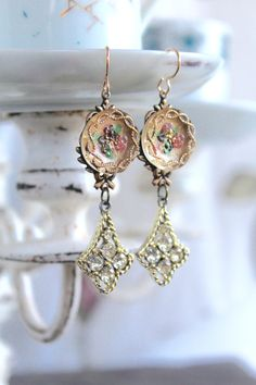 Antique Rhinestone assemblage earrings, antique buttons, Czech glass buttons…