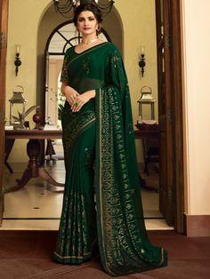 Buy Prachi Desai Georgette Embroidered Bollywood Saree In Green Online Net Saree, Georgette Sarees, Saree With Pants, Prachi Desai Hot, Raw Silk Fabric, Party Sarees, Green Saree, Stylish Sarees, Casual Saree
