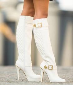 Gorgeous White Quilted Buckles Knee High Heel Boots Stilettos Platform Boots you best choice for Party, Big day, Anniversary, Going out -TOP Design by FSJ White High Heel Boots, Knee High Heels, White Boots, Heeled Boots, Bootie Boots, Sexy Boots, Cute Shoes, Women's Shoes, Me Too Shoes