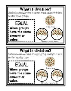 Here's an 11-page mini-booklet that introduces division as equal shares/groups.