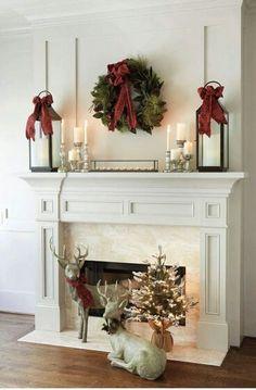 32 Rustic Christmas Fireplace Mantel Decor To Inspire Noel Christmas, Rustic Christmas, Simple Christmas, White Christmas, Christmas Ideas, Beautiful Christmas, Elegant Christmas, Office Christmas, Miniature Christmas