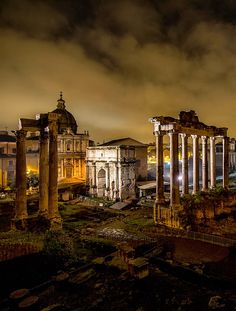 Ruins of The Forum at Night, Rome Italy