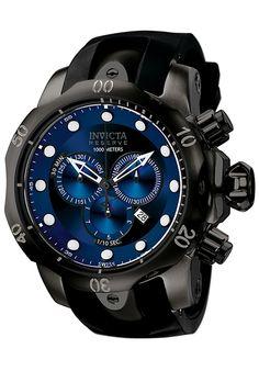 Invicta F0003 Watches,Men's Venom Reserve Chronograph Black Polyurethane, Chronograph Invicta Quartz Watches