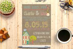 Housewarming invitation/house warming invitation/new home/burlap/barbecue/bbq/new house/housewarming/rustic/modern/colorful/bright Modern Rustic, Barbecue, House Warming, Burlap, New Homes, Sweet Home, Invitations, Etsy, Bright