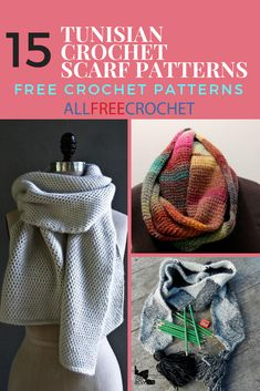 Use Tunisian crochet stitches to crochet a scarf you're sure to love! Include beginner and intermediate patterns. Use Tunisian crochet stitches to crochet a scarf you're sure to love! Include beginner and intermediate patterns. Crochet Stitches For Blankets, Tunisian Crochet Patterns, Crochet Stitches For Beginners, Crochet Shawl, Crochet Scarves, Knitting Patterns, Crochet Gloves, Knitting Tutorials, Knit Stitches