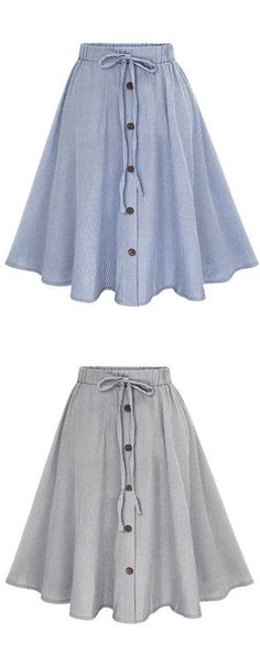 Simple Pinstripe Button Bowknot A Line Skirt