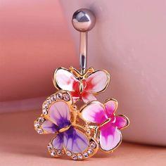 Look what I found on AliExpress Gold Enamel Esmalte Crystal Body Feminino Umbigo Body Jewelry Navel Piercing Butterfly Belly Ring Medical Steel Umbilical Ring