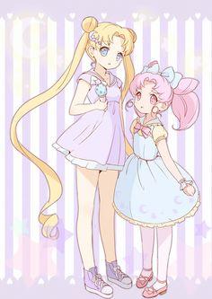 Usagi Tsukino and Chibi Usa / Serena and Rini / Sailor Moon and Sailor Mini Moon (Bishoujo Senshi Sailor Moon)