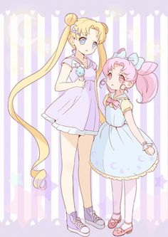 Usagi Tsukino and Chibi Usa / Serena and Rini / Sailor Moon and Sailor Mini Moon (Bishoujo Senshi Sailor Moon)