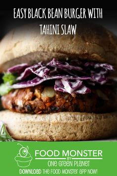 Easy Black Bean Burger With Tahini Slaw! Dairy Free Recipes, Vegan Recipes, Best Casseroles, Black Bean Burgers, Vegan Burgers, Cheese Lover, Burger Recipes, Tahini, Black Beans