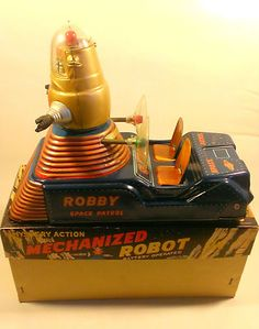 Robby Space Patrol Tin Robot MTH CRAGSTAN Battery op in Box VERY RARE
