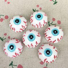 10 Pieces Flat Back Resin Cabochon Zombie EyeBall Halloween DIY Flatback Decorative Craft Scrapbooking Embellishment:25mm