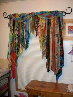 Bohemian curtains - 20 Very Cheap and Easy DIY Window Valance Ideas You Would Love Bohemian Curtains, Diy Curtains, Scarf Curtains, Patchwork Curtains, Beaded Curtains, Window Curtains, Fabric Strip Curtains, Burlap Valance, Bohemian Fabric
