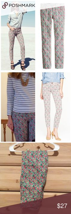"""j crew// liberty floral toothpick skinny jeans No offense to indigo, but we're absolutely obsessed with our new printed toothpick jean. In the same skinny ankle fit as the original, it features a colorful floral from London's Liberty Art Fabrics. This particular one combines two best-of-the-best prints—Emma from 1970 and Georgina from 2001—into one blooming mix of old and new.  Cotton with a hint of stretch. 28"""" inseam. 11 7/8"""" leg opening (based off size 28). Traditional 5-pocket styling…"""