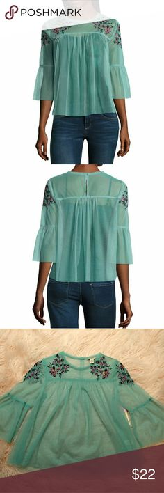 NWT RETAIL $34 Teal sheer delicate blouse with green orange/ peach pink/ purple embroidered flowers.   Floral is in this season! Check out this blouse in my closet that is in black. :)   Size small 0 1 2 3 4 Tops