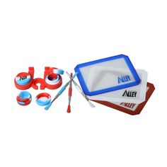 Carving Tool (Silver) [3] + Non-stick Red / White / Blue Rectangle Mat [3] + Wax Jars Containers of Tie Dye Colors [3] + Red Container Holder [1] [USA Edition]