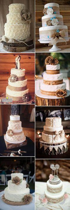 stylish rustic burlap accented wedding cake ideas
