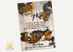 Mud Run Collection Birthday Invitation by PaperCrownCoterie