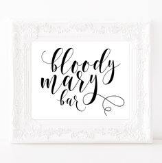 Bloody mary bar sign Bridal shower poster Bachelorette weekend Wedding bar decor New years party decorations Wedding prints Drink sign #vm21 by ViolaMirabilisPrints on Etsy