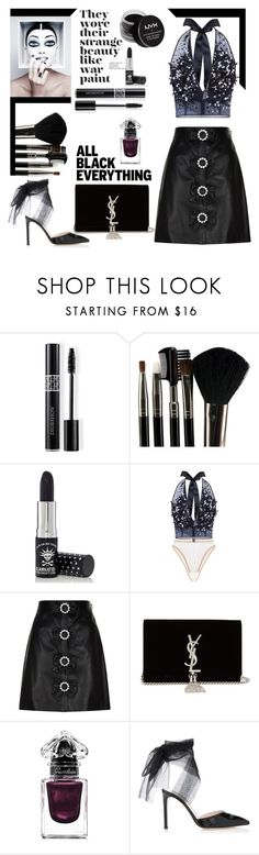 """""""All Black"""" by sparklemeetsclassic ❤ liked on Polyvore featuring Christian Dior, Glamour Status, Manic Panic NYC, Jenny Packham, Gucci, Yves Saint Laurent, Guerlain, NYX, polyvoreeditorial and allblackoutfit"""
