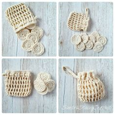 Crochet cotton pads and storage bag.