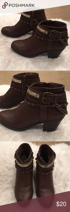 [LIKE NEW] Edgy Brown Booties w/ Gold Chain In like new condition, only worn once. Comes with original shoebox. Shoes Ankle Boots & Booties