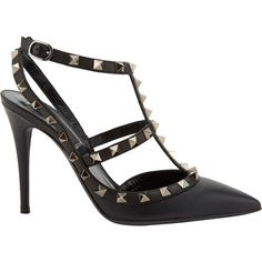 Valentino Women's Rockstud Slingback Pumps ($1,095) ❤ liked on Polyvore featuring shoes, pumps, black, pointy toe ankle strap pumps, t strap pumps, valentino pumps, pointy toe pumps and black pointy-toe pumps