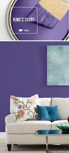A bold color palette is the best way to make your home stand out from the crowd. That's why the BEHR Paint Color of the Month, King's Court, is the perfect choice for your next interior design makeover. Use this dark purple hue on your family room walls for a vibrant and modern style.
