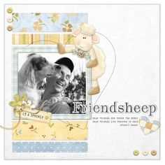 Cute sheep make best friends in this digital layout. FQB - In the Meadow Collection from Nitwit Collections™