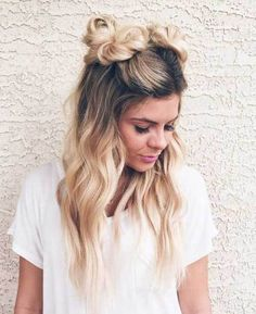 10 Trendy Half Bun Hairstyles: #1. Cute Two Half Bun Style