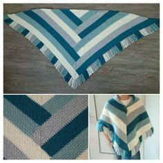 Melamart sjaal in granietsteek/weefsteek gehaakt
