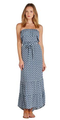 SOFT JOIE Memorie Dress Indigo Blue | Strapless Maxi Dress