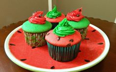 Simple to Make Cake Mix Watermelon Cupcakes » Skinny Sweets Daily