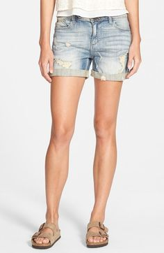 SP+Black+Deconstructed+Denim+Shorts+(Medium+Wash)+available+at+#Nordstrom