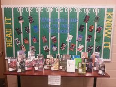 """""""Which sports book will you tackle this season?"""" PHS Media Center Bulletin Board and Display Fall 2013 Fall Library Displays, School Displays, Classroom Displays, Book Displays, School Library Lessons, Middle School Libraries, Elementary Library, Library Bulletin Boards, Bulletin Board Display"""