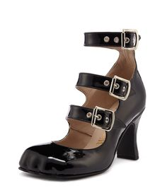 Animal Toe 3 Strap Black Patent #SS16                              …