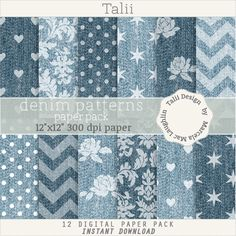Denim Pattern DIGITAL PAPER PACK- Light and dark denim, jeans texture, with white stamped patterns, hearts, dots, flowers, damask, chevron by TaliiDesign on Etsy