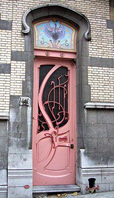 Pink Art Nouveau door. Paris